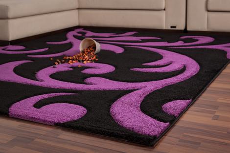 schwarz violetter teppich 200cm x 290cm handgecarvt lilien design neu modern ebay. Black Bedroom Furniture Sets. Home Design Ideas