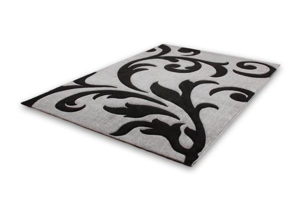 teppich moderne teppiche ranke flachflor sale neu grau schwarz 80x300 ebay. Black Bedroom Furniture Sets. Home Design Ideas